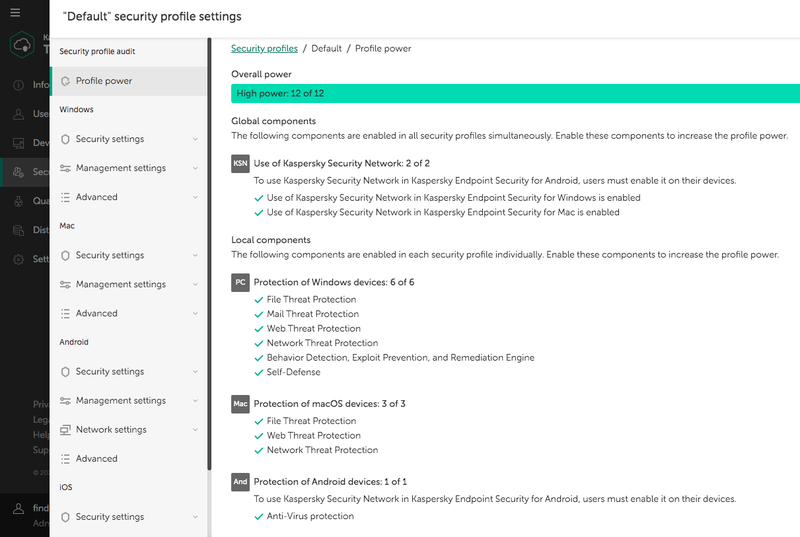 The security profile page reveals your security setting options based on device type.