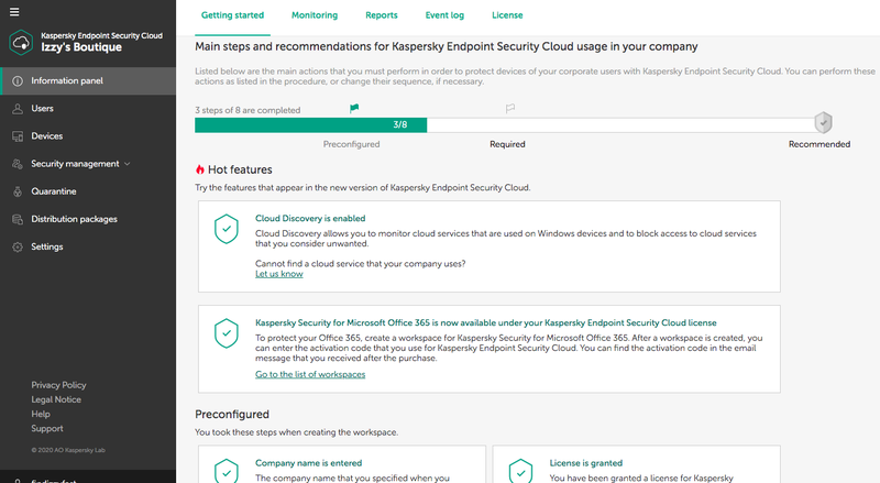 The Getting Started section lists the components to set up as part of your security implementation.