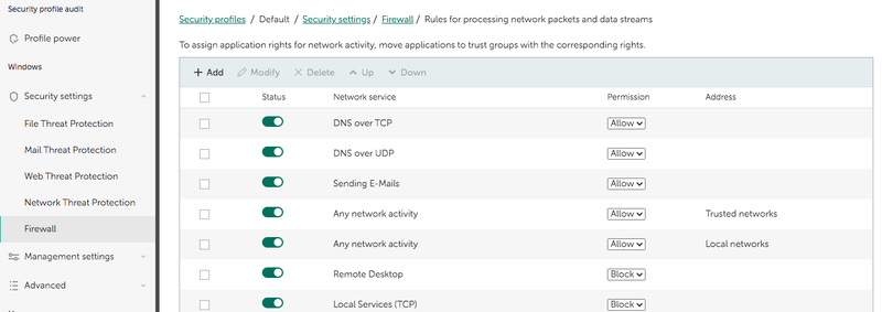 Firewall settings include a page listing various rules for processing network data that have toggle switches and Permission dropdown options.