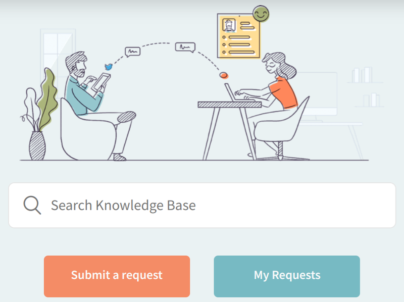 The knowledge base search bar has two buttons, one for submitting a request and one serving as a shortcut to check the status of your current requests.