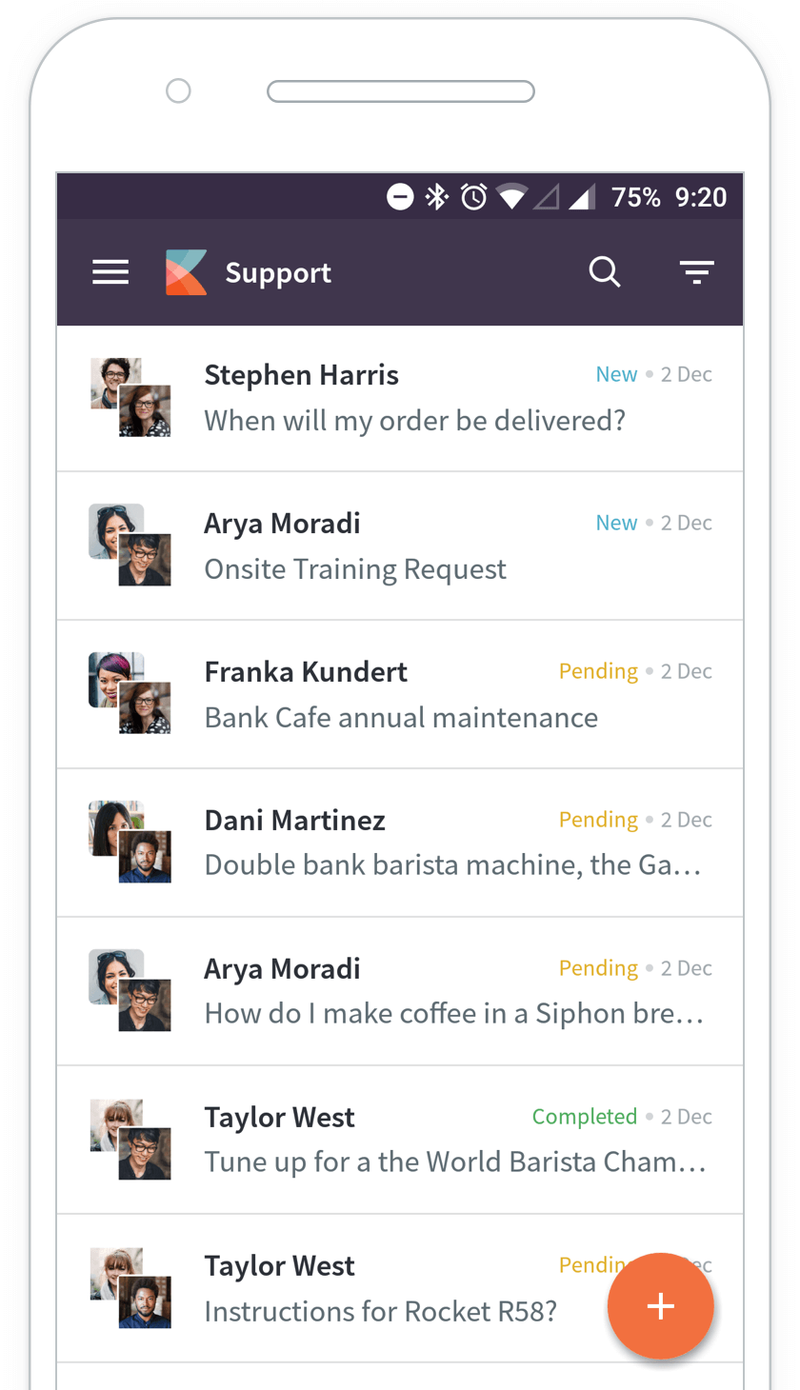 A list of customer support conversations are shown using Kayako's mobile app.