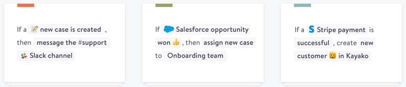 Three sample Zapier automated workflows connect Kayako to Slack, Salesforce, and Stripe.