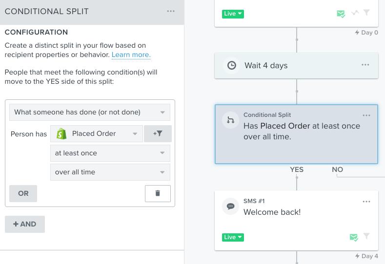 A screenshot of Klaviyo's workflow building tool.