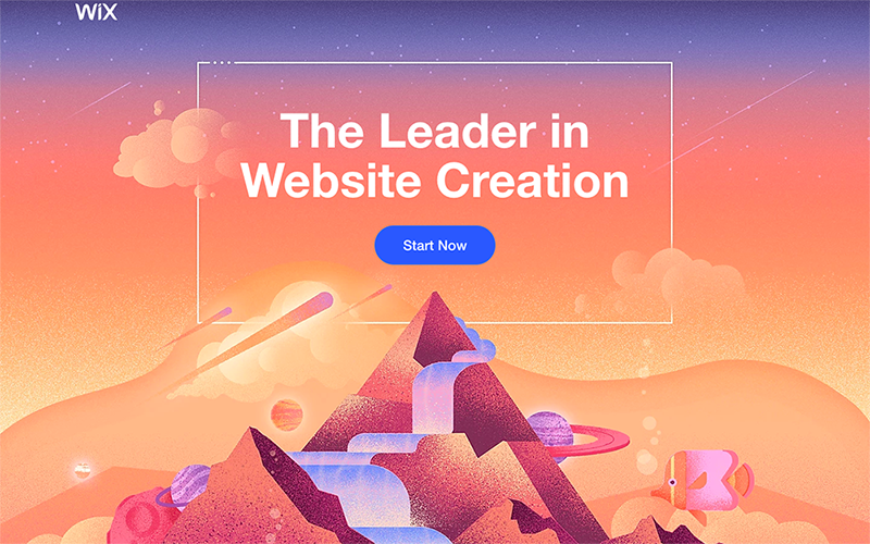 Top of Wix landing page featuring a header, button, and visual illustration of mountains.