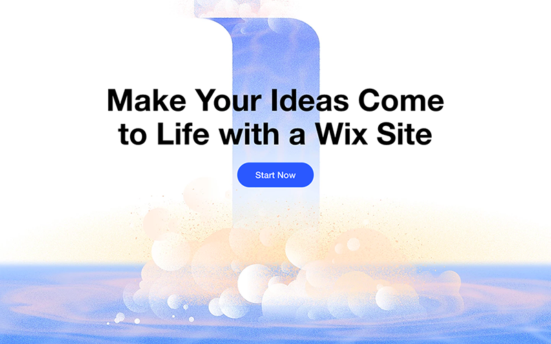End of Wix landing page continuing the imagery and a final button prompting the user to get started.