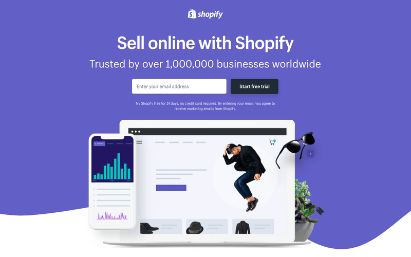 Shopify landing page with form field to submit email address and a visual illustration of a laptop and smartphone.