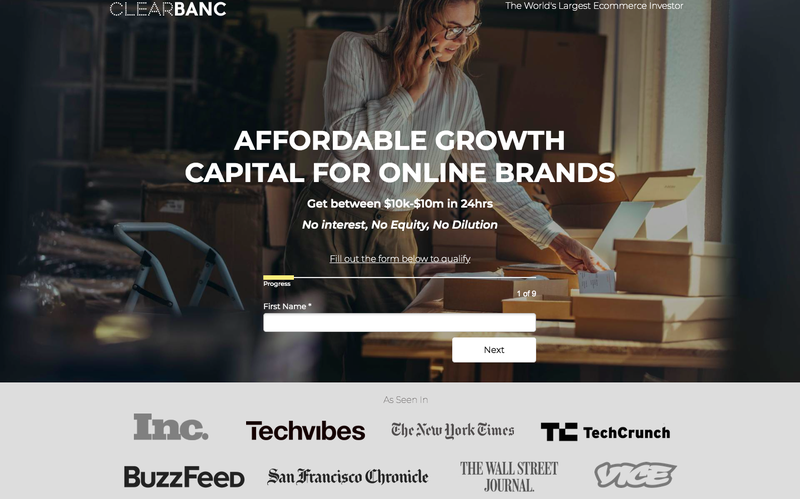 Top of Clearbanc landing page with background of a women surrounded by boxes, form field for email sign-up, and list of brands recommending Clearbanc.