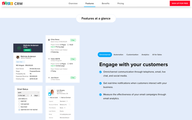 Middle of Zoho CRM's landing page with screenshots highlighting different product features.