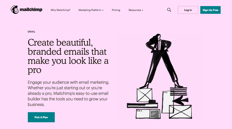 Mailchimp landing page with solid pink background, illustration on the right, and copy and button on the left.