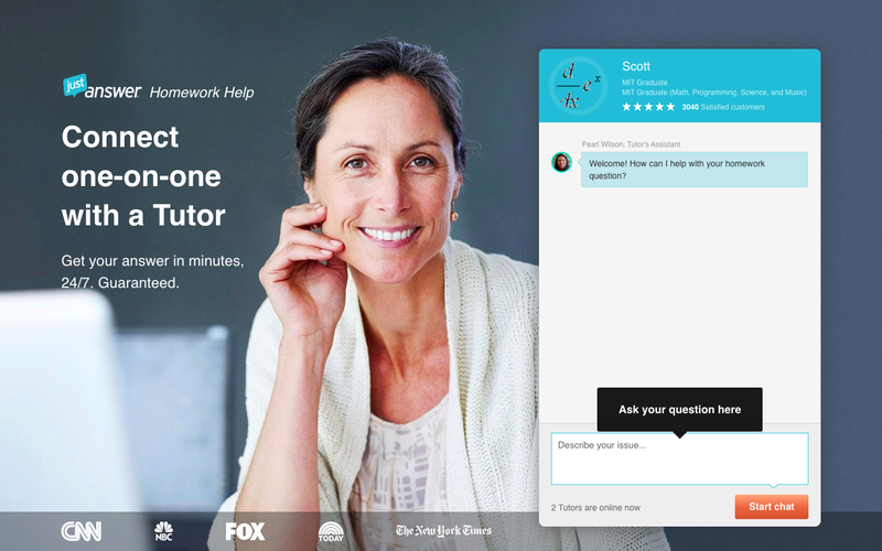 JustAnswer landing page with portrait of a women in the background and a live chat box inviting you to try the product.