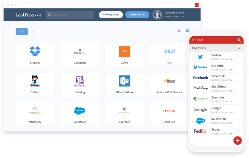The LastPass user portal and mobile app displayed side by side.