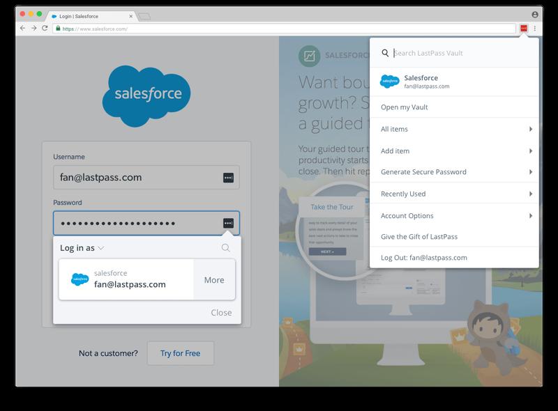 LastPass's login autofill feature shown on the Salesforce website.