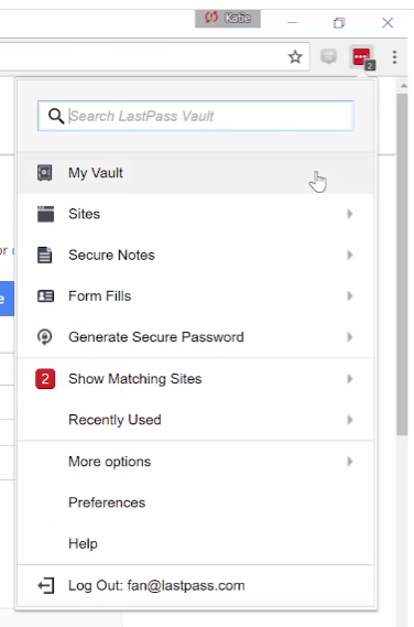 The LastPass browser extension drop-down menu has multiple options.