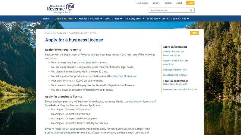 Screenshot of the Washington Department of Revenue's business licensing page.