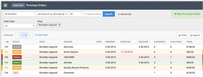 Screenshot of Lightspeed purchase order management, with color-coded status buttons.