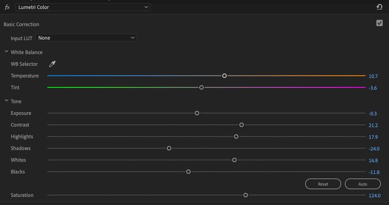 Basic correction tools in Lumetri Color.