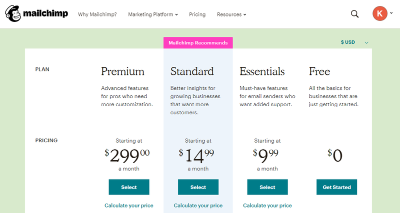 Campaign Monitor vs Mailchimp showing Mailchimp pricing tiers.