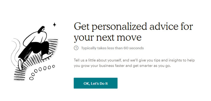 Mailchimp assessment home screen to give you personalized advice
