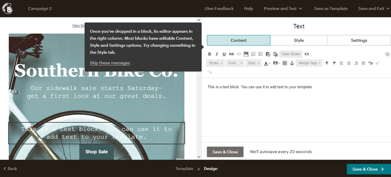 ActiveCampaign vs Mailchimp with Mailchimp email editor with drag and drop editing features on the right side menu