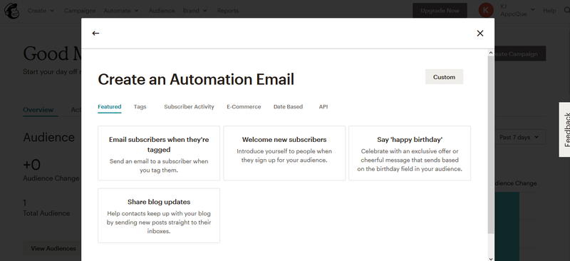 Mailchimp popup screen to select an automation template based off of different triggers.