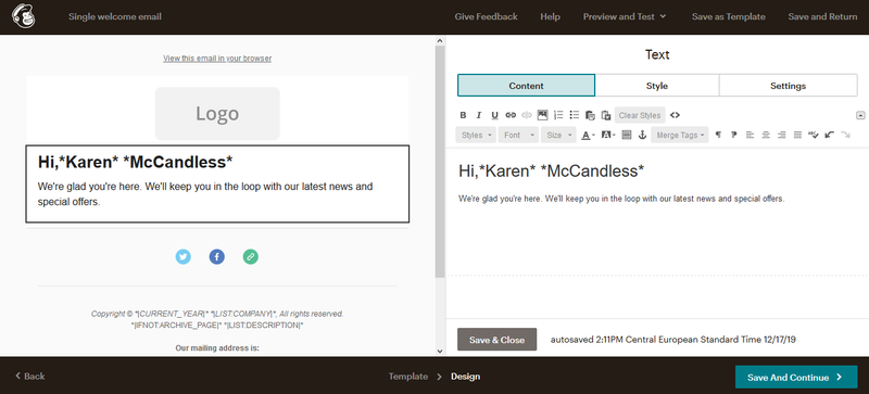 Mailchimp email design window with email preview on the left-hand side and editor on the right.