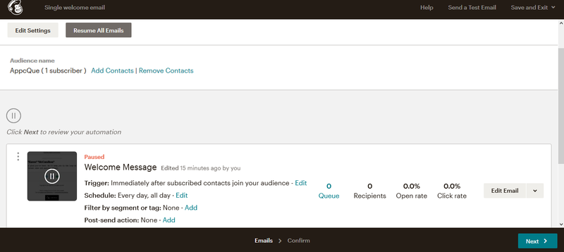 Mailchimp automation editing screen with options to edit trigger, schedule, segment, etc.