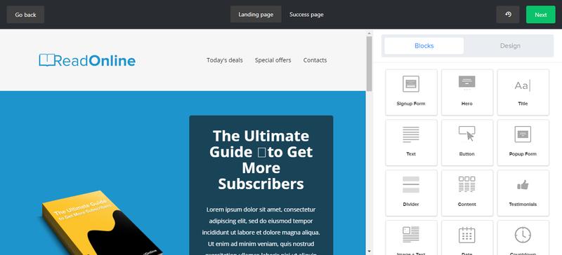 Mailerlite Landing Page Screenshot