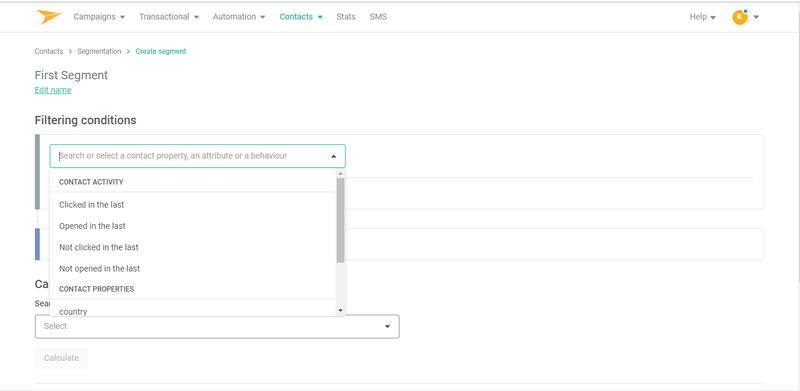 Mailjet simple segmentation feature with drop down menu options to set criteria.