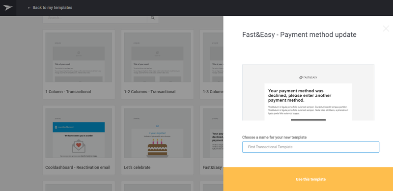Mailjet page for transnational email templates listed as cards