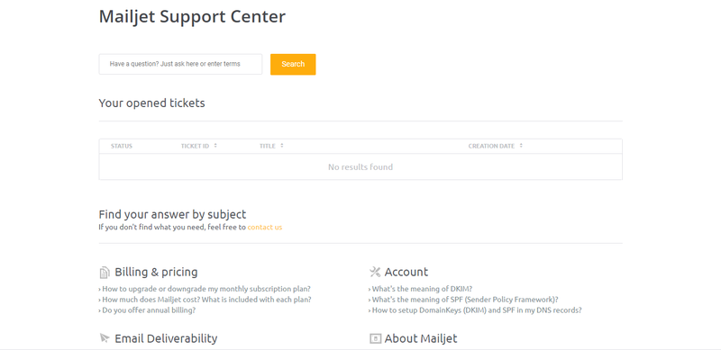 Mailjet help center where you can fill out a simple form to open a ticket