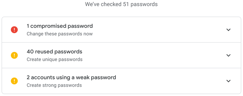 A dismal Google Password Checkup report displays multiple problems.