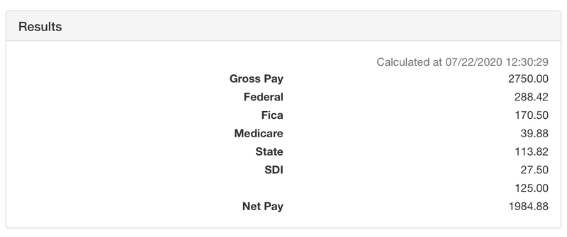 OnPay's online payroll calculator shows the difference between gross pay and net pay.