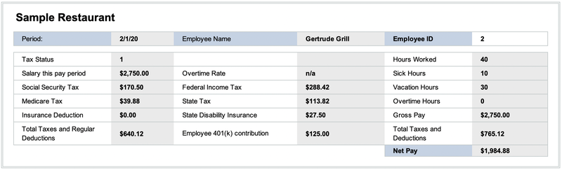 Gertrude's pay stub shows her gross pay, deductions, net pay, and accrued time off.