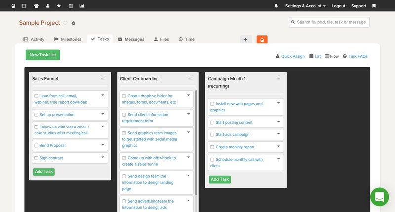 Brightpod projects screen showing different project tasks in a kanban board view.