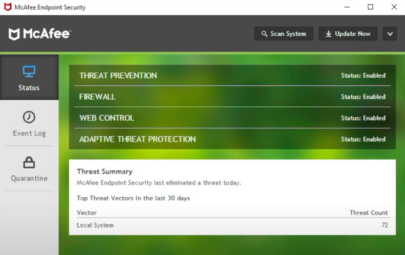 McAfee Endpoint Security's locally installed application shows the security status of a user's computer.