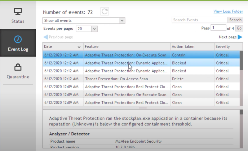 McAfee Endpoint Security's locally installed application shows a list of security events.