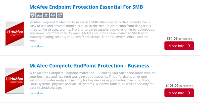 McAfee Endpoint Security comes in two packages for SMBs.