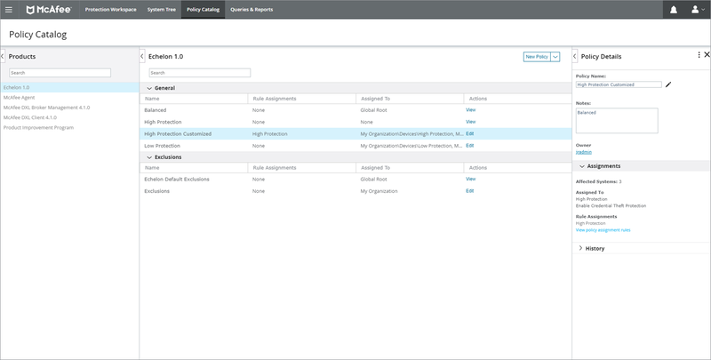 McAfee ePO's Policy Catalog screen shows current security policies and provides policy control tools.