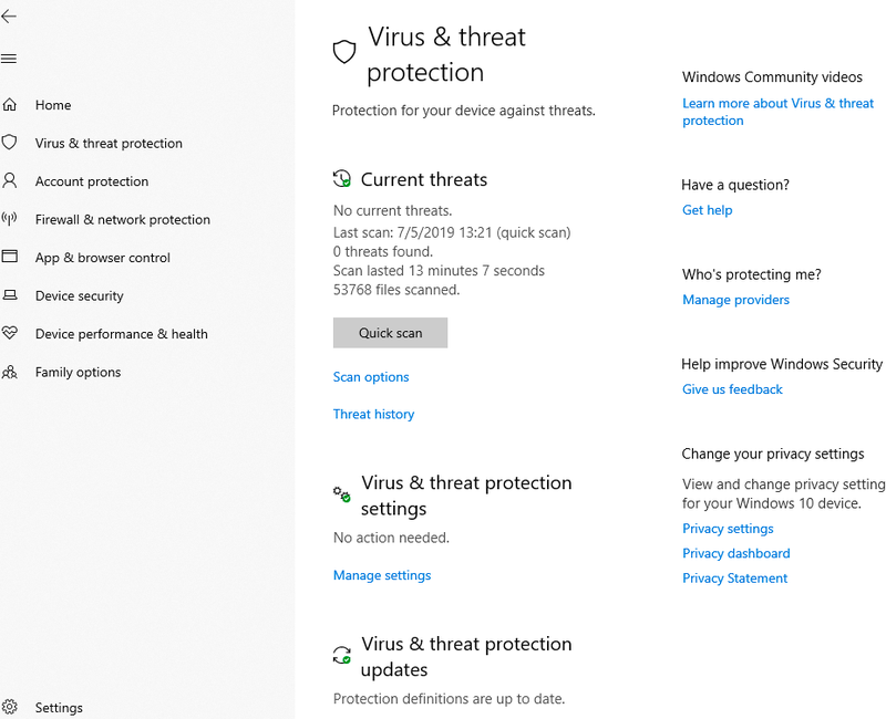 Microsoft Defender Antivirus summarizes the number of threats detected and date of the last scan in an easy-to-understand interface.