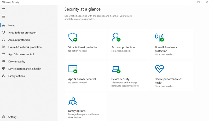 A set of seven components make up the security options within the Windows Security interface.