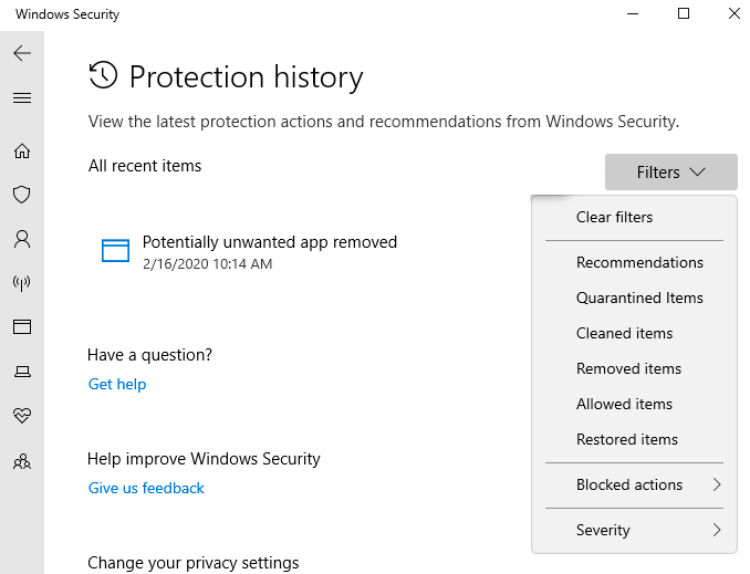 The Protection History screen shows a list of actions taken to protect your PC.