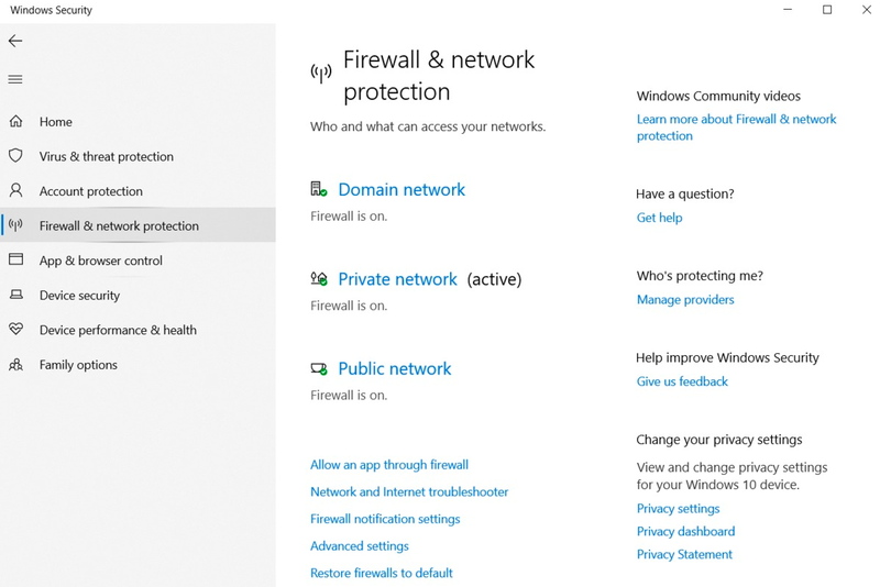 The firewall screen shows the settings available to manage your network's firewall in Windows Security.
