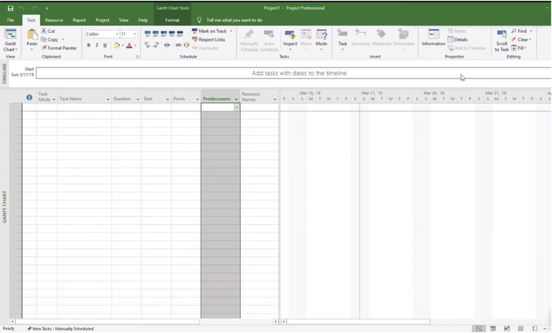 Microsoft Project screen showing projects laid out in a spreadsheet format.