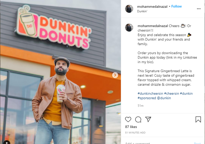 Picture of Instagram collaboration between Mohammed Al Nazal and Dunkin' Donuts.