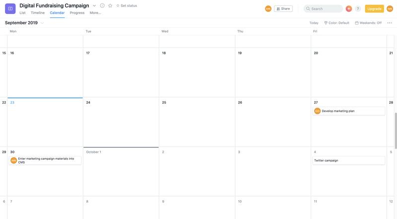 Asana calendar view showing tasks by date