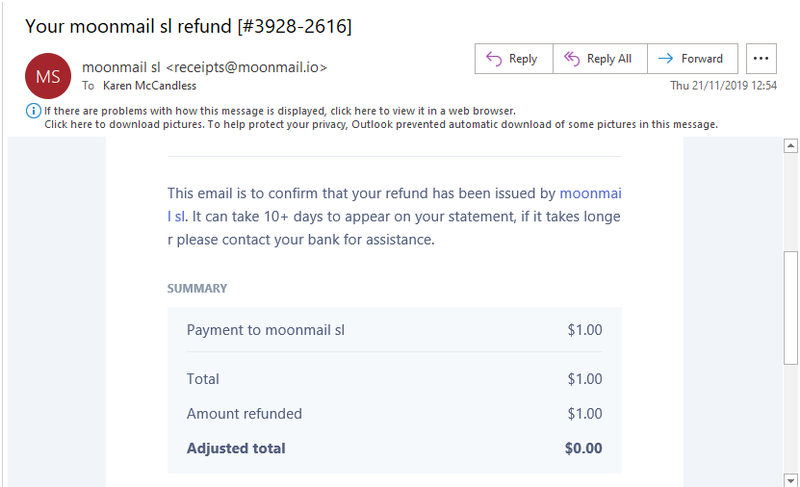 MoonMail email receipt for $1 charge when you sign up