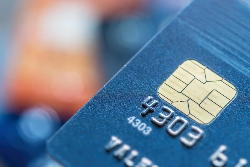 Close up view of EMV chip on credit card