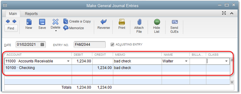 General journal entry option in QuickBooks Desktop with a journal entry for an NSF check.