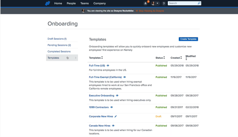 Namely's onboarding template dashboard