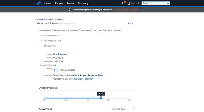 Screenshot of Namely Employee Goals